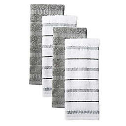 KitchenAid® Albany Striped Kitchen Towels in Grey (Set of 4)