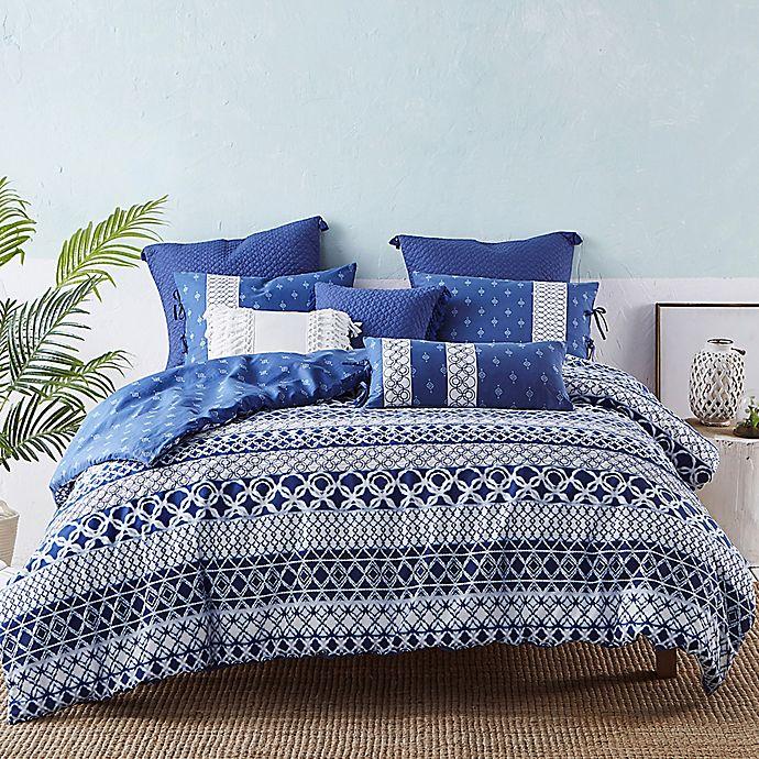 Alternate image 1 for Shibori Reversible Queen Duvet Cover Set in Blue