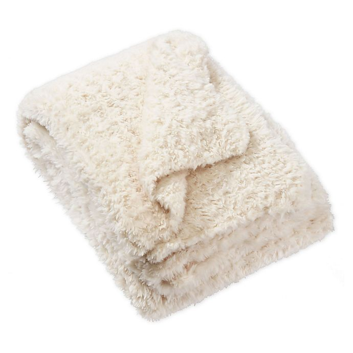 Alternate image 1 for UGG® Allegra Faux Fur Throw Blanket in Snow