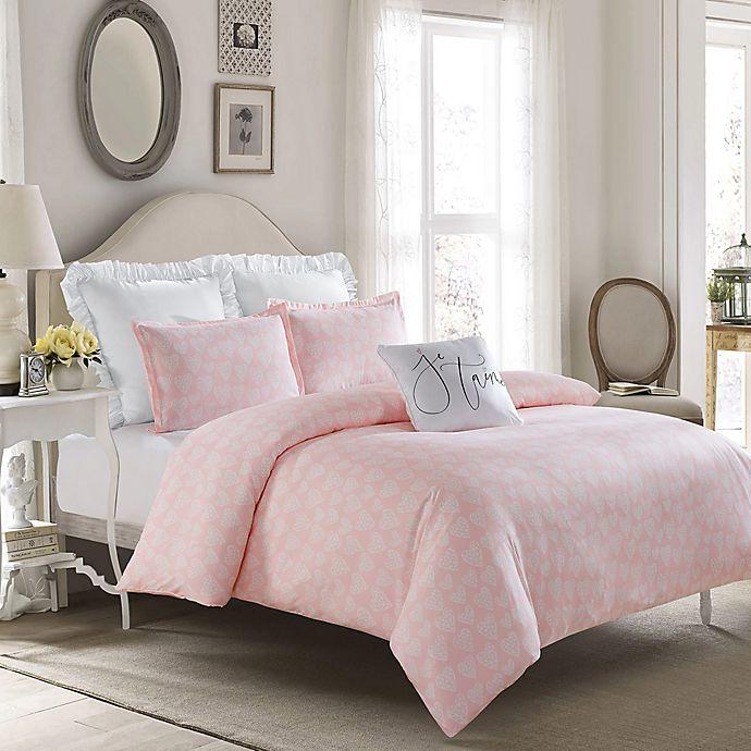 Alternate image 1 for Crystal Heart Reversible Full Comforter Set in Pink