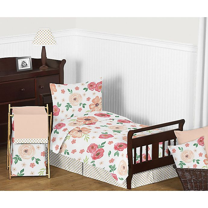 Alternate image 1 for Sweet Jojo Designs® Watercolor Floral 5-Piece Toddler Bedding Set in Coral/White