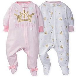 Gerber® 2-Pack Castle Footies in Pink