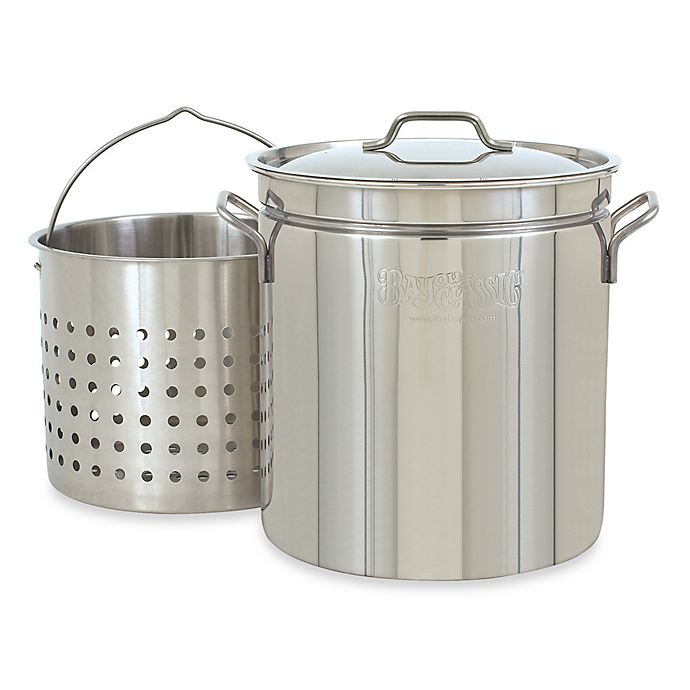Alternate image 1 for Bayou Classic® Stainless Steel Stock Pot with Basket and Vented Lid