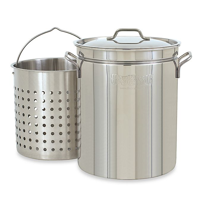 Alternate image 1 for Bayou Classic 44 qt. Stock Pot with Basket and Vented Lid in Stainless Steel