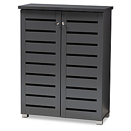 Baxton Studio Totty 2-Door Shoe Cabinet in Dark Grey