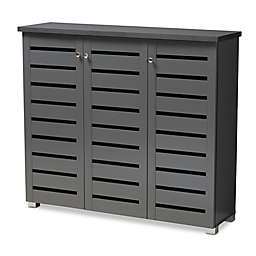 Baxton Studio Totty 3-Door Shoe Cabinet in Dark Grey