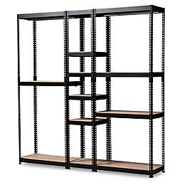 Baxton Studio Nancy 10-Shelf Closet Organizer in Black