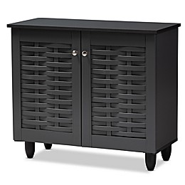 Baxton Studio Mable 2-Door Shoe Cabinet in Dark Grey