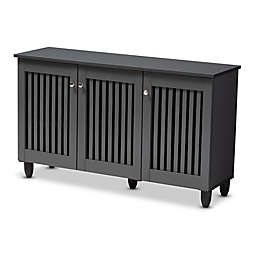 Baxton Studio Meryl 3-Door Shoe Cabinet in Dark Grey