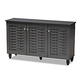 Baxton Studio Mable 3-Door Shoe Cabinet in Dark Grey