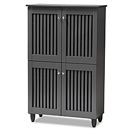 Baxton Studio Meryl 4-Door Shoe Cabinet in Dark Grey