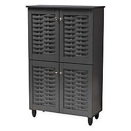 Baxton Studio Mable 4-Door Shoe Cabinet in Dark Grey