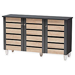 Baxton Studio Lewis 3-Door Shoe Cabinet in Oak/Dark Grey