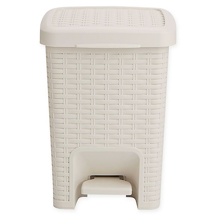 Alternate image 1 for Mind Reader Bathroom Step Trash Can in White