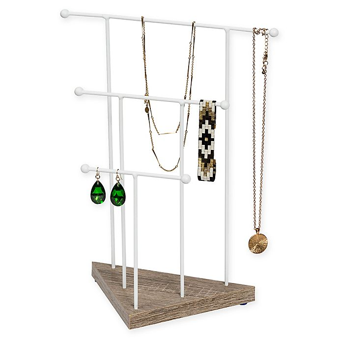 Alternate image 1 for Honey-Can-Do® Geo 3-Tier Jewelry Stand in White