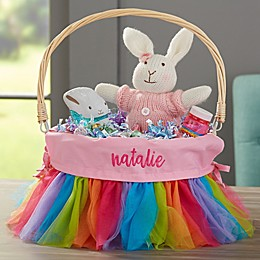 Rainbow Tutu Personalized Easter Basket with Drop-Down Handle