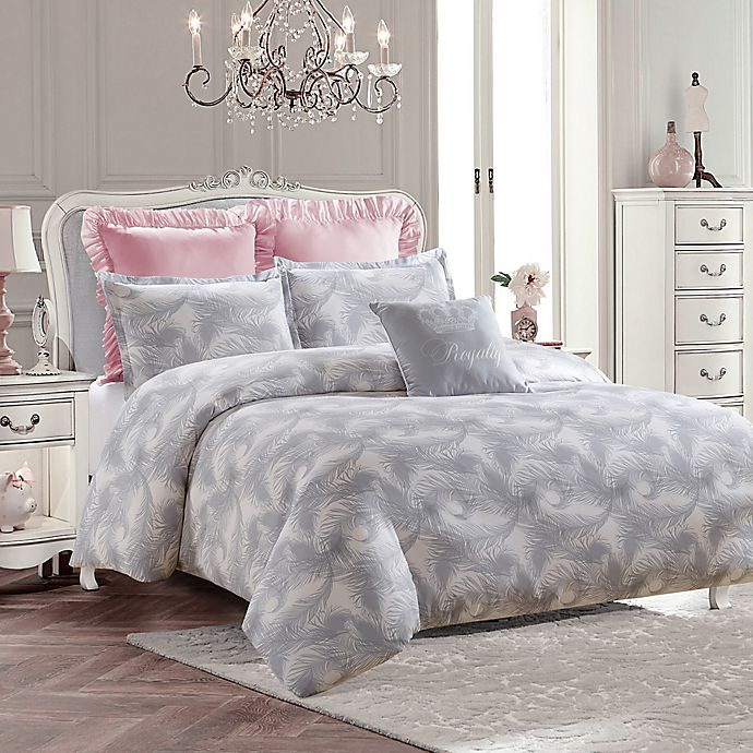 Alternate image 1 for Royal Feathers Full/Queen Comforter Set in Grey