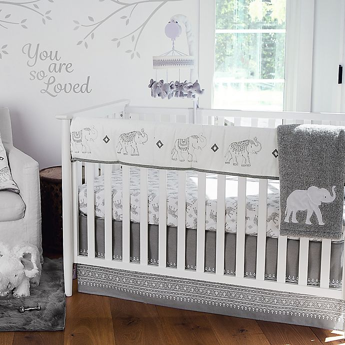 Alternate image 1 for Levtex Baby® Elephant Parade Crib Rail Guard in White/Grey