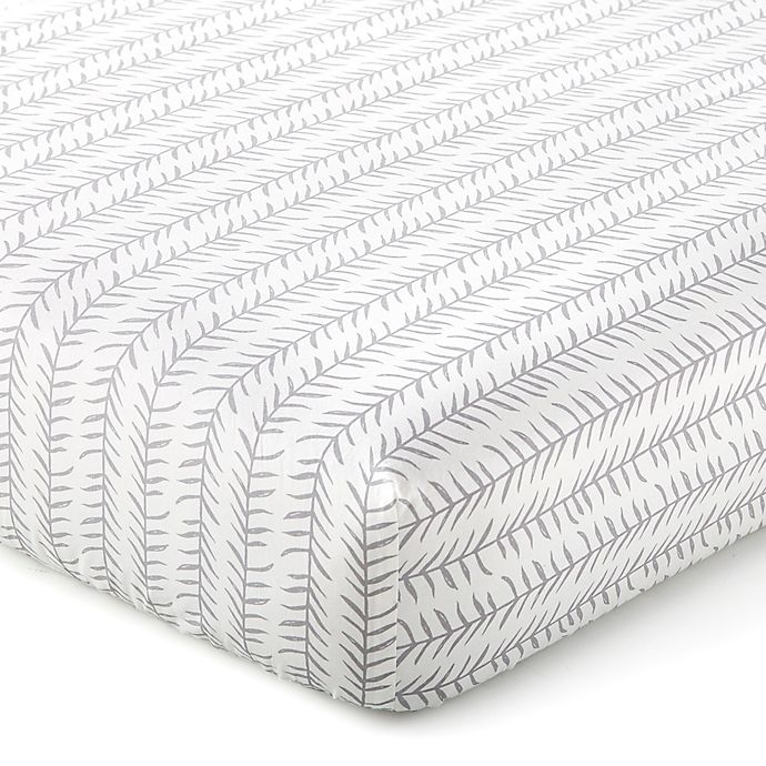 Alternate image 1 for Levtex Baby® Kipton Leaf Fitted Crib Sheet in Grey