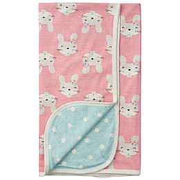 Gerber® Bunny Reversible Organic Cotton Baby Blanket in Coral