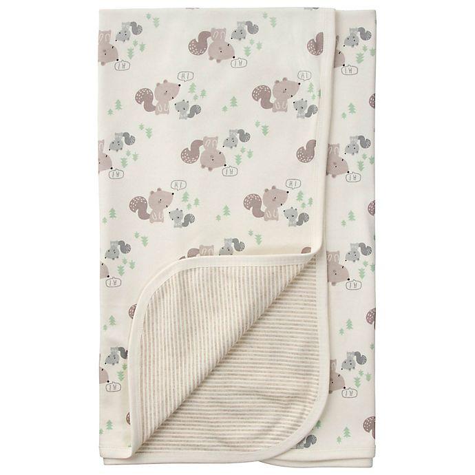 Alternate image 1 for Gerber® Squirrel Reversible Organic Cotton Baby Blanket in Brown