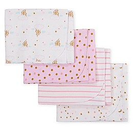 Gerber® 4-Pack Princess Castle Flannel Receiving Blankets in Pink