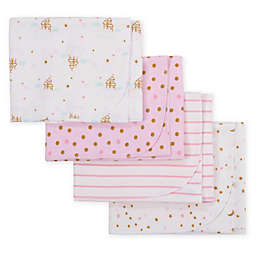 Gerber® 4-Pack Princess Castle Flannel Receiving Blankets in Pink