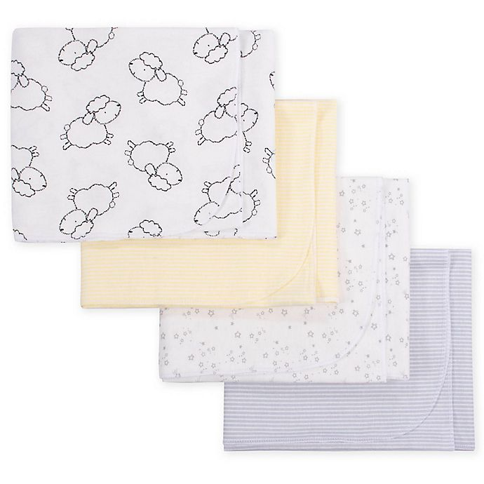 Alternate image 1 for Gerber® 4-Pack Lamb Flannel Receiving Blankets in Grey/Yellow