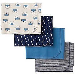 Gerber® 4-Piece Fox Flannel Receiving Blankets in Blue