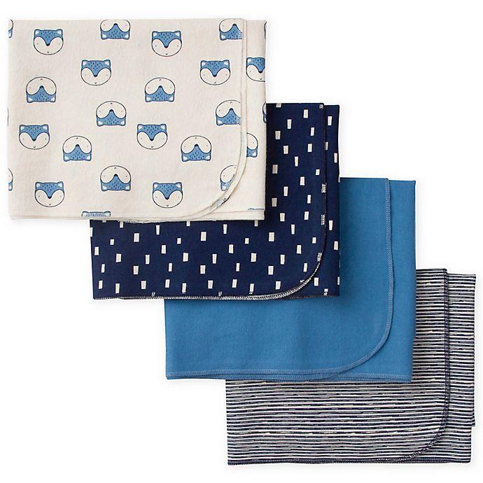 Alternate image 1 for Gerber® 4-Piece Fox Flannel Receiving Blankets in Blue