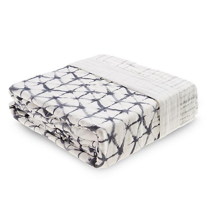 Alternate image 1 for aden + anais® Silky Soft Oversized Shibori Receiving Blanket in Blue