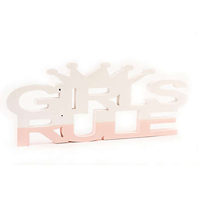"""Girls Rule"" Wall Art in White/Pink"