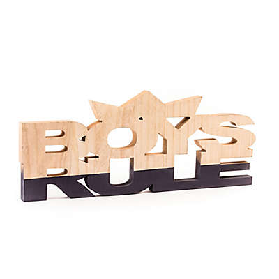 """Boys Rule"" Wall Art in Blue/Natural"
