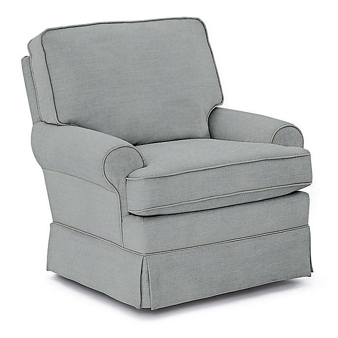 Alternate image 1 for Best Chairs Custom Quinn Swivel Glider in Blue Fabrics