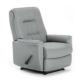 Best Chairs Custom Felicia Swivel Glider Recliner in Blue Fabrics
