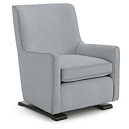 Best Chairs Custom Coral Swivel Glider in Blue Fabrics