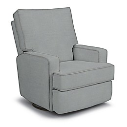 Best Chairs Custom Kersey Swivel Glider Recliner in Blue Fabrics