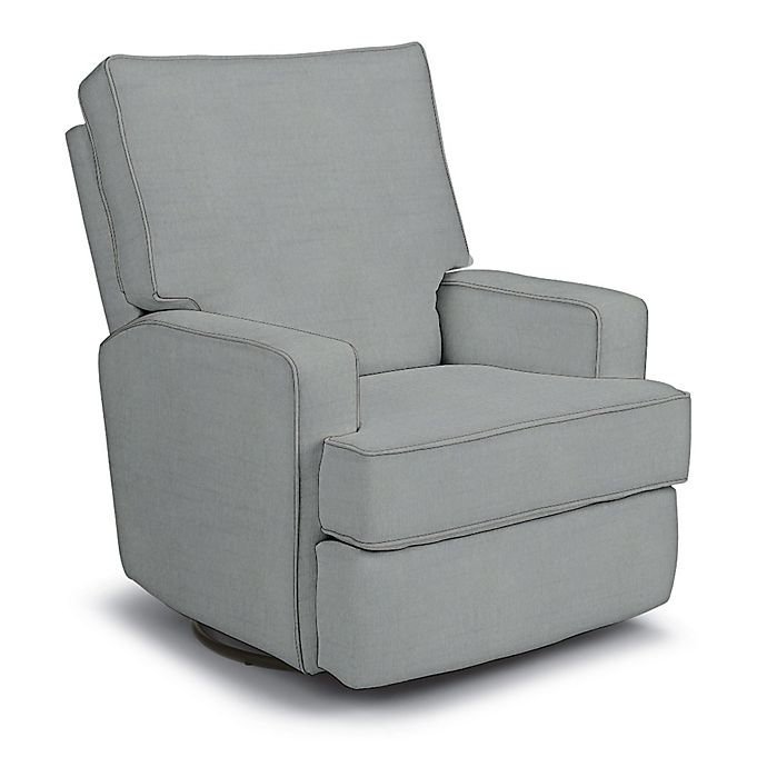 Alternate image 1 for Best Chairs Custom Kersey Swivel Glider Recliner in Blue Fabrics
