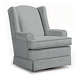 Best Chairs Custom Roni Swivel Glider in Blue Fabrics
