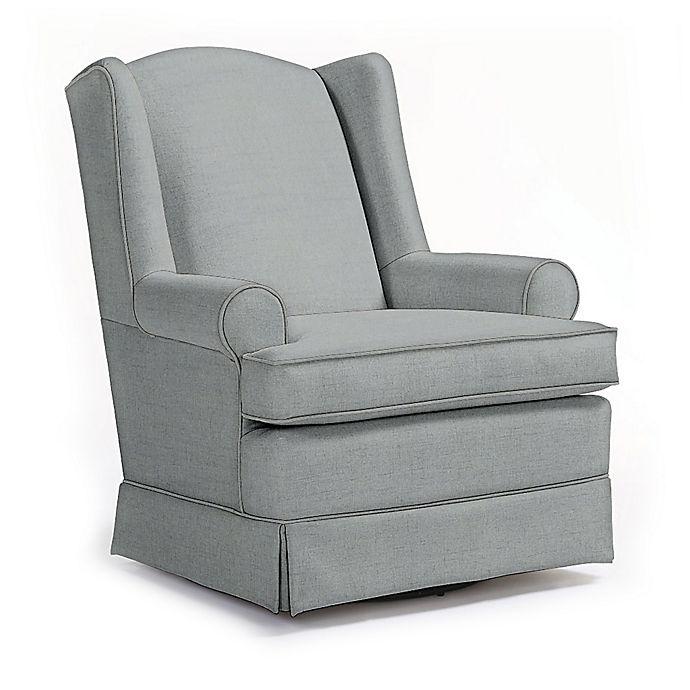 Alternate image 1 for Best Chairs Custom Roni Swivel Glider in Blue Fabrics