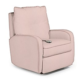Best Chairs Custom Ingall Power Rocker Recliner in Pink Fabrics