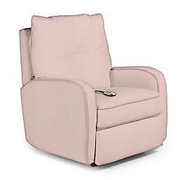 Best Chairs Custom Ingall Power Rocker Recliner in Pink Fabrics