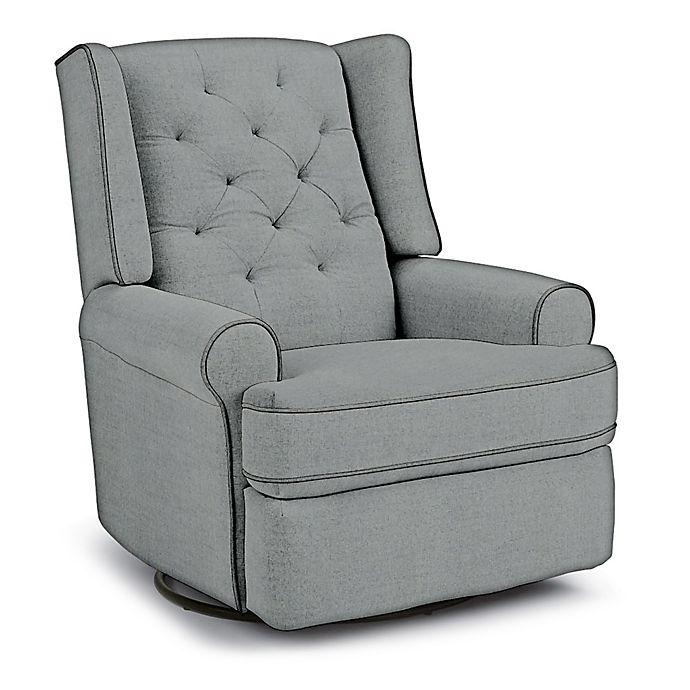 Alternate image 1 for Best Chairs Custom Finley Swivel Glider Recliner in Blue Fabrics