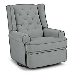 Best Chairs Custom Finley Swivel Glider Recliner in Blue Fabrics