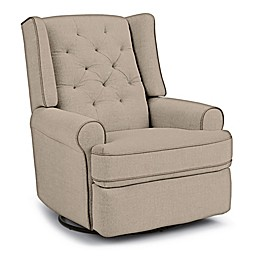 Best Chairs Custom Finley Swivel Glider Recliner in Tan Fabrics