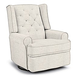 Best Chairs Custom Finley Swivel Glider Recliner in Creme Fabrics