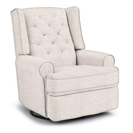 Best Chairs Custom Finley Swivel Glider Recliner In Creme