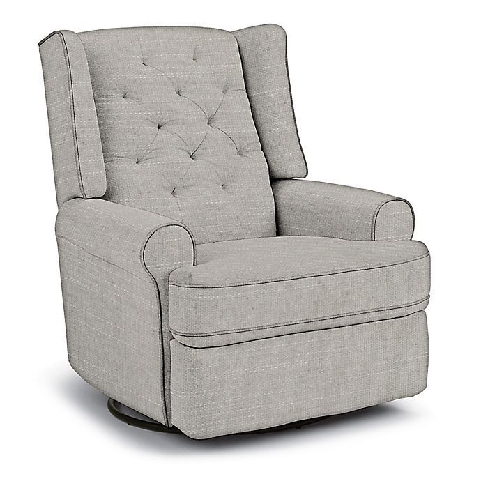 Alternate image 1 for Best Chairs Custom Finley Swivel Glider Recliner in Grey Fabrics