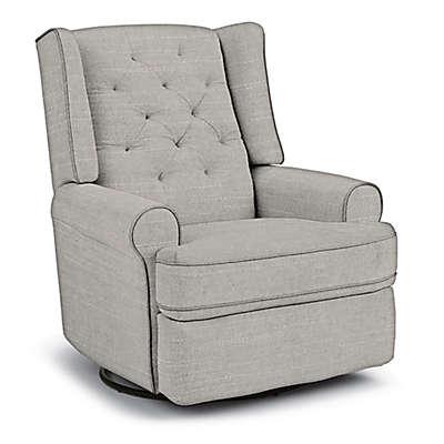 Best Chairs Custom Finley Swivel Glider Recliner in Grey Fabrics
