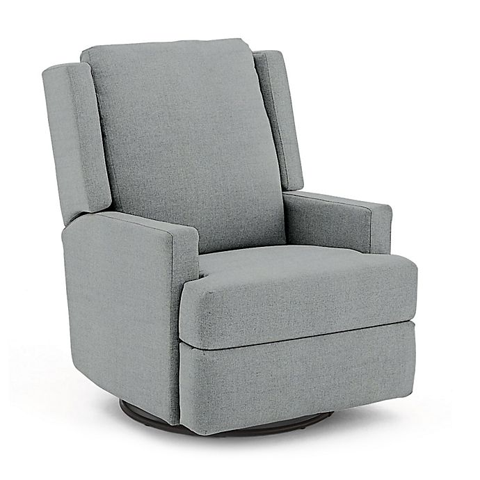 Alternate image 1 for Best Chairs Custom Ainsley Swivel Glider Recliner in Blue Fabrics